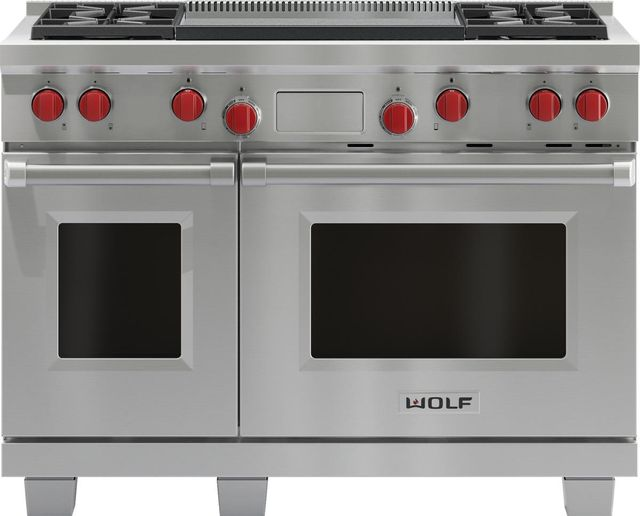"""Wolf® 48"""" Pro Style Dual Fuel Range-Stainless Steel-DF484DG"""