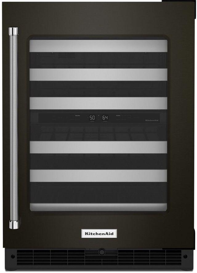 "KitchenAid® 24"" Black Stainless Steel Frame Wine Cooler-KUWR314KBS"