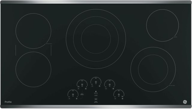 """GE Profile™ Series 36"""" Black with Stainless Steel Electric Cooktop-PP9036SJSS"""