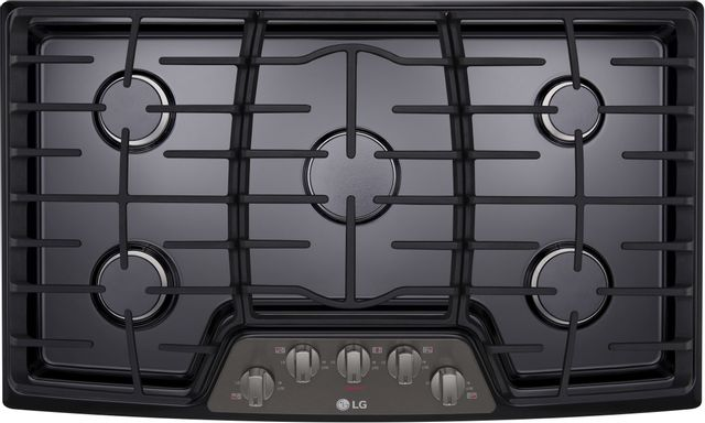 "LG 36"" Black Stainless Steel Gas Cooktop-LCG3611BD-12-3612"