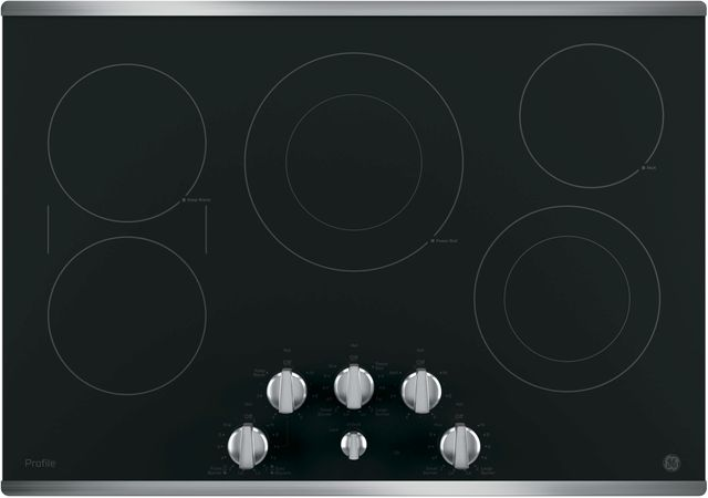 """GE Profile™ Series 30"""" Black with Stainless Steel Electric Cooktop-PP7030SJSS"""