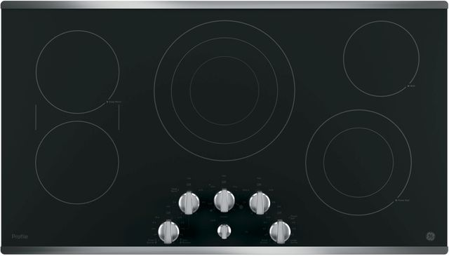 """GE Profile™ 37"""" Black with Stainless Steel Electric Cooktop-PP7036SJSS"""