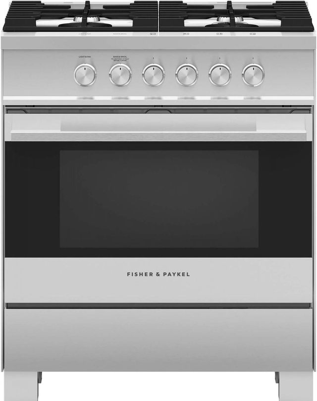 """Fisher Paykel 30"""" Free Standing Gas Range-Brushed Stainless Steel with Black Glass-OR30SDG4X1"""