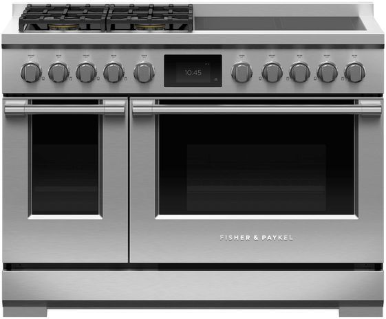 """Fisher & Paykel Series 9 48"""" Stainless Steel with Black Glass Pro Style Dual Fuel Range-RHV3-484-N"""
