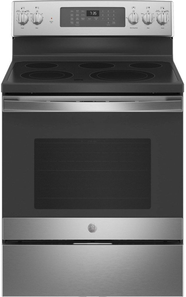 """GE® 30"""" Stainless Steel Free Standing Electric Convection Range-JB735SPSS"""