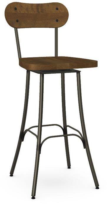 Amisco Bean Wooden Swivel Bar Stool-41268-30