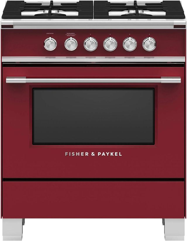 """Fisher Paykel 30"""" Free Standing Gas Range-Red-OR30SCG4R1"""