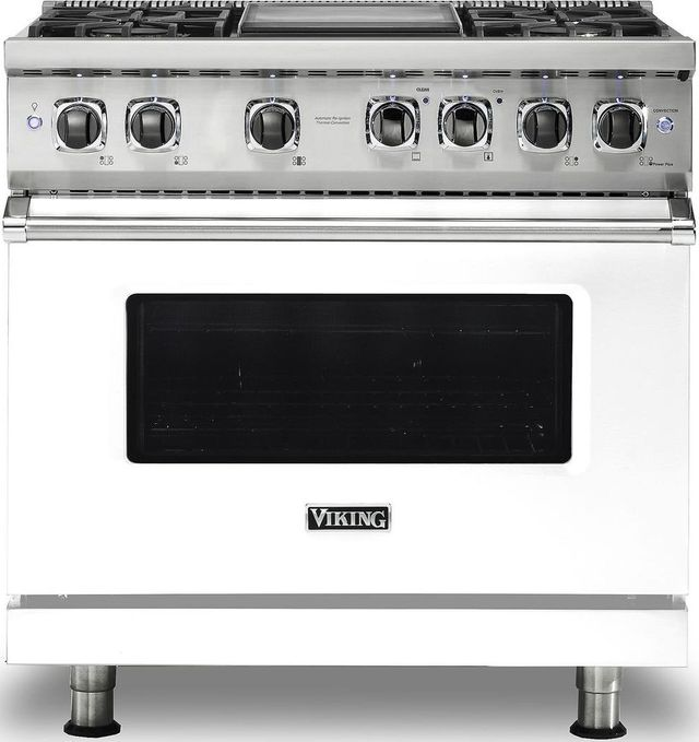 "Viking® Professional 5 Series 36"" Pro Style Dual Fuel Range-White-VDR5364GWHLP"