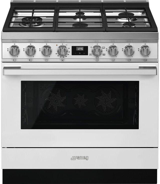 """Smeg Portofino Aesthetic 36"""" White Pro Style Natural Gas Range-CPF36UGGWH"""