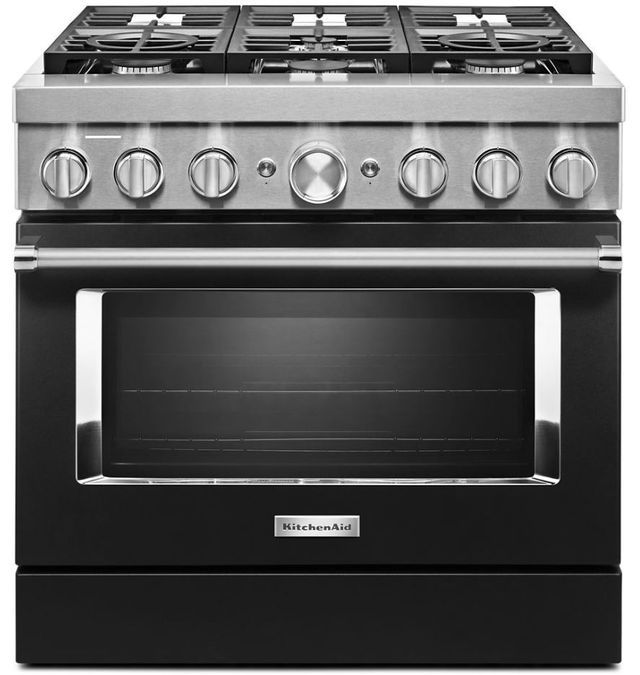 """KitchenAid® 36"""" Imperial Black Commercial-Style Free Standing Dual Fuel Range-KFDC506JBK"""