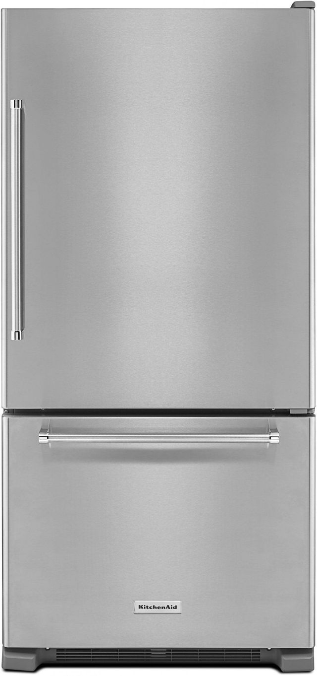 KitchenAid® 22.07 Cu. Ft. Stainless Steel Bottom Freezer Refrigerator-KRBR102ESS