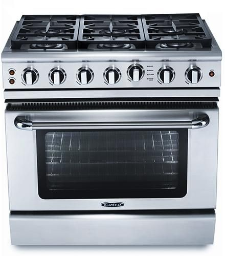 """Capital Precision™ 36"""" Stainless Steel Free Standing Gas Range-GSCR366N"""