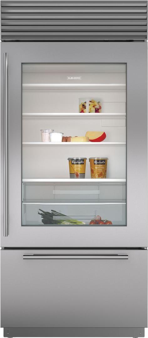 Sub-Zero® 21.6 Cu. Ft. Stainless Steel Built In Bottom Freezer Refrigerator-BI-36UG/S/TH-RH