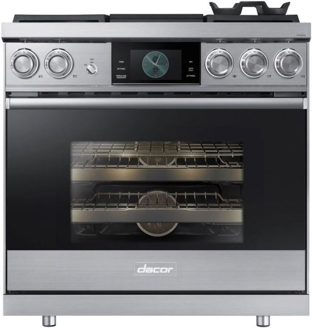 """Dacor® Contemporary 36"""" Stainless Steel Pro Dual-Fuel Steam Range-DOP36M94DHS"""
