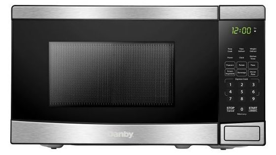 Danby® 0.7 Cu. Ft. Black with Stainless Steel Countertop Microwave-DBMW0721BBS