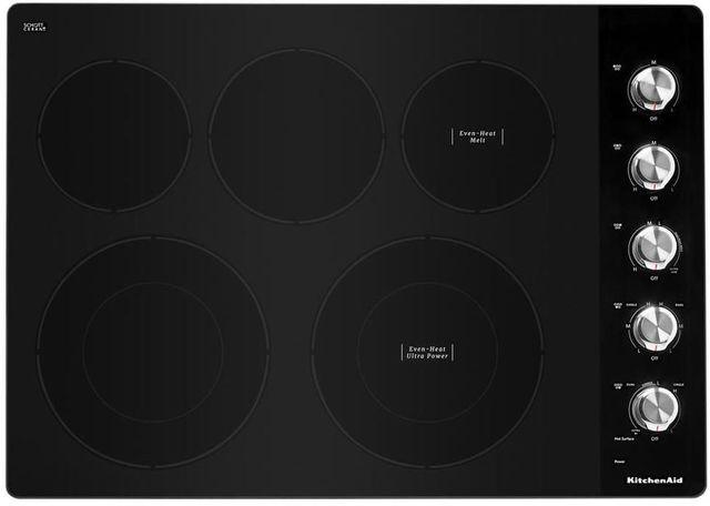 """KitchenAid® 30"""" Black Electric Cooktop-KCES550HBL"""