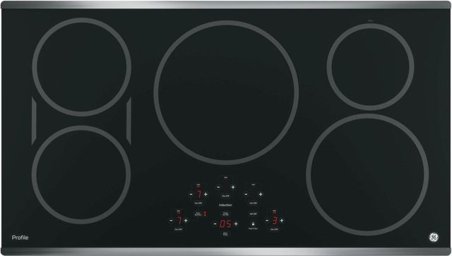 """GE Profile™ Series 37"""" Black with Stainless Steel Induction Cooktop-PHP9036SJSS"""