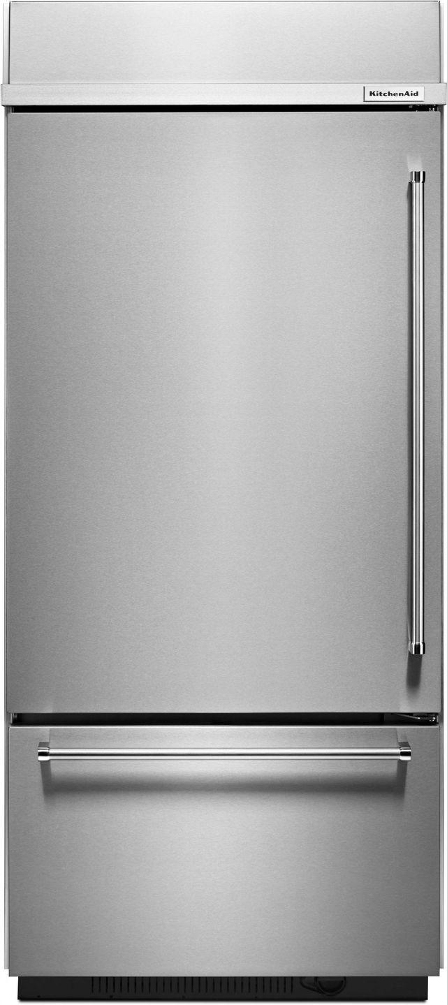 KitchenAid® 20.86 Cu. Ft. Stainless Steel Built In Bottom Freezer Refrigerator-KBBL306ESS