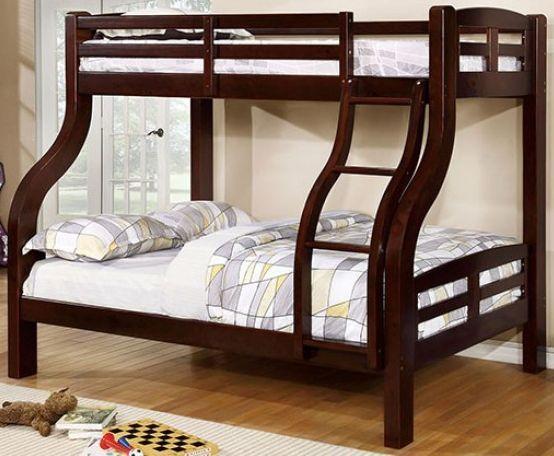 Furniture Of America Solpine Espresso Twin Full Bunk Bed Cm Bk618ex Bed Ihome Furniture