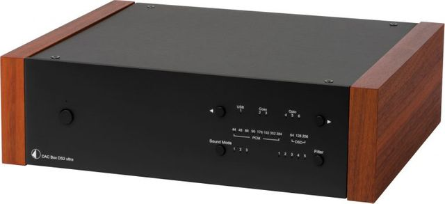 Pro-Ject DS2 Line Black High-End Digital/Analogue Converter with Rosewood Wood Panels-DAC Box DS2 Ultra-BL-RW