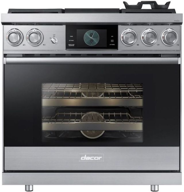 """Dacor® Contemporary 36"""" Stainless Steel Pro Dual-Fuel Steam Range-DOP36M94DPS"""