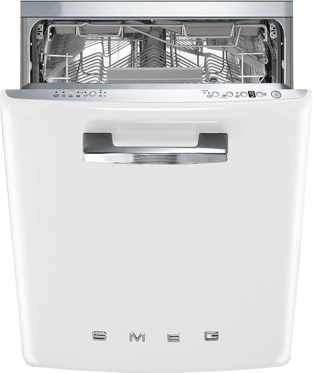 """Smeg 50's Retro Style Aesthetic 24"""" White Built In Dishwasher-STFABUWH"""