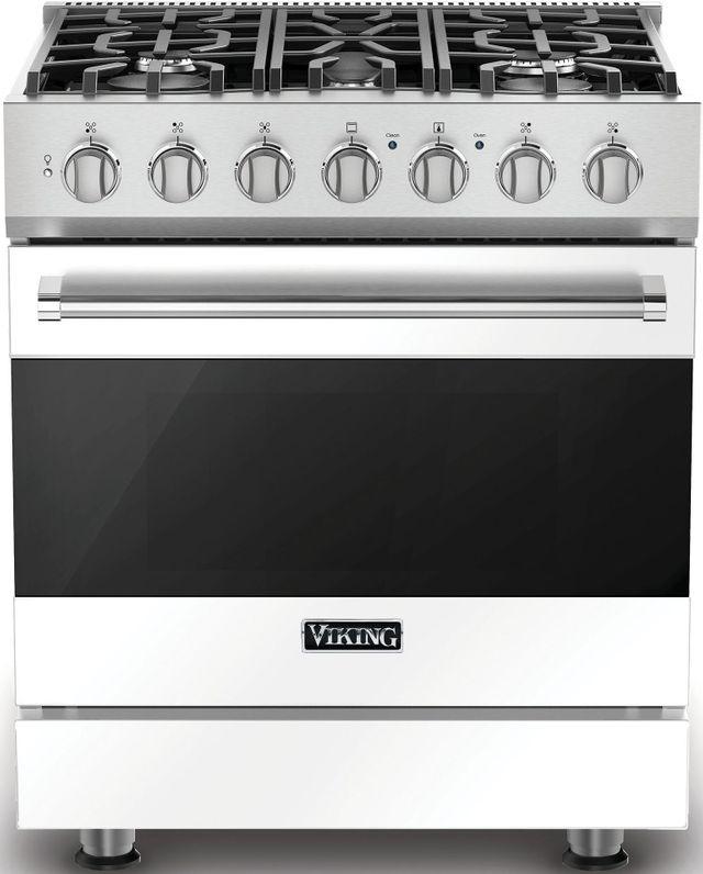 """Viking® 3 Series 30"""" Freestanding Dual Fuel Range-White-RVDR33025BWHLP"""