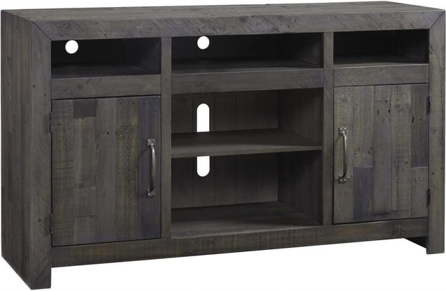 """Signature Design by Ashley® Mayflyn Charcoal 75"""" TV Stand with Fireplace Option-W729-68"""