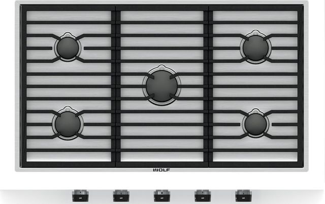 """Wolf® 36"""" Stainless Steel Contemporary Gas Cooktop-CG365C/S"""