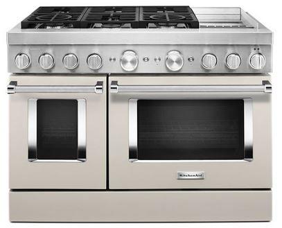 Cuisinière bicombustible style commercial de 48 po KitchenAid® de 6,3 pi³, avec plaque chauffante - Lait frappé mat-KFDC558JMH