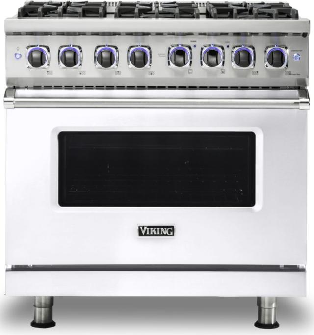 """Viking® 7 Series 36"""" White Pro Style Gas Range-VGR73626BWHLP"""