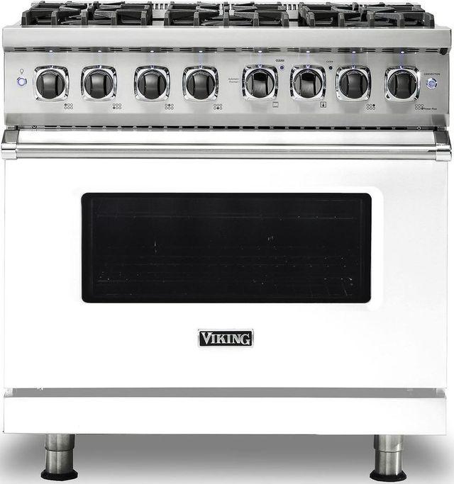 "Viking® Professional 5 Series 36"" Pro Style Dual Fuel Range-White-VDR5366BWHLP"