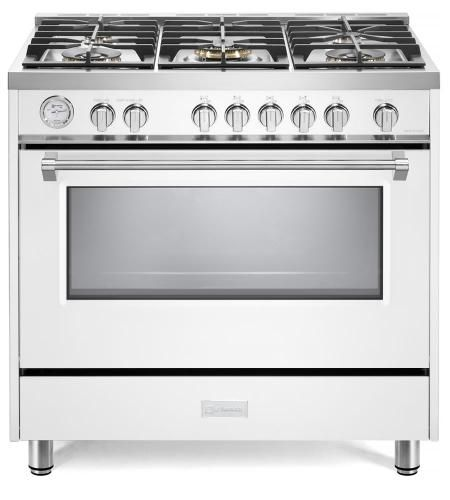 "Verona Designer Series 36"" White Free Standing Gas Range-VDFSGG365W"