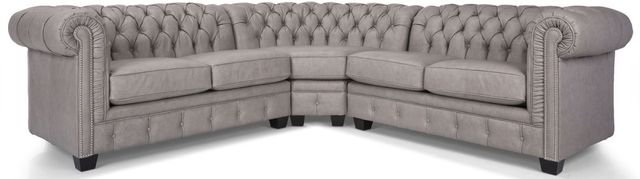 Decor-Rest® Furniture LTD 3230 3-Piece Gray Leather Sectional Sofa-3230-07+04+06