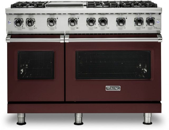 """Viking® 5 Series 48"""" Kalamata Red Pro Style Natural Gas Range with 12"""" Griddle-VGR5486GKA"""