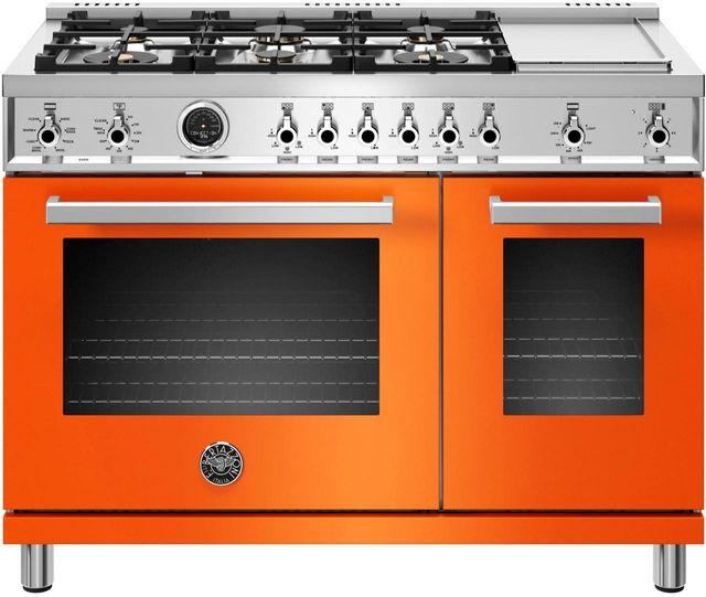 "Bertazzoni Professional Series 48"" Orange Pro Style Duel Fuel Range-PROF486GDFSART"
