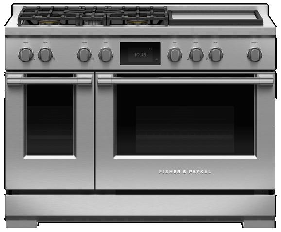 Cuisinière biénergie style Pro Fisher Paykel® de 6,9 pi³ de 48 po - Acier inoxydable-RGV3-485GD-L