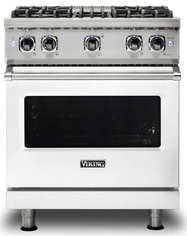 "Viking® 5 Series 30"" Frost White Pro Style Natural Gas Range-VGR5304BFW"