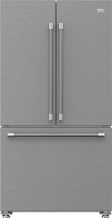 Beko 19.9 Cu. Ft. Fingerprint Free Stainless Steel Freestanding French Door Refrigerator-BFFD3624SS
