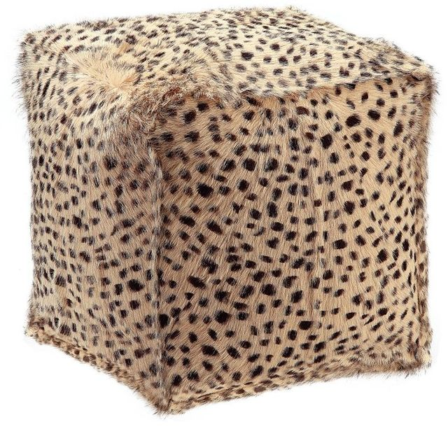 Moe's Home Collections Spotted Goat Cream Leopard Fur Pouf-XU-1016-05