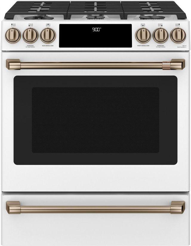 """Café™ 30"""" Matte White Slide In Dual Fuel Range-C2S900P4MW2"""