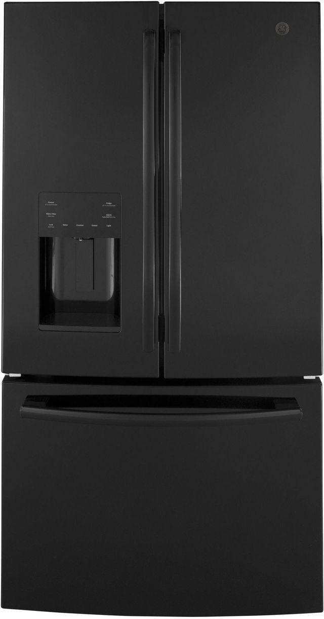 GE® 25.6 Cu. Ft. High-Gloss Black Freestanding French Door Refrigerator-GFE26JGMBB