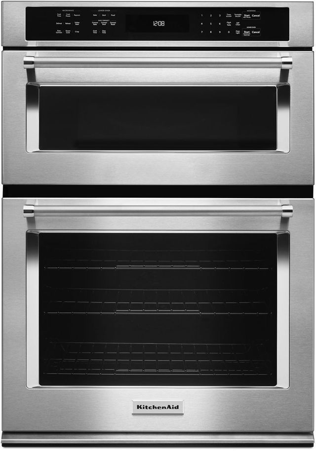 """KitchenAid® 30"""" Stainless Steel Electric Oven/Microwave Combo Built In-KOCE500ESS"""