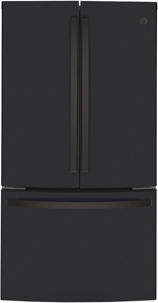 GE® 23.10 Cu. Ft. Fingerprint Resistant Black Slate Counter Depth French Door Refrigerator-GWE23GENDS