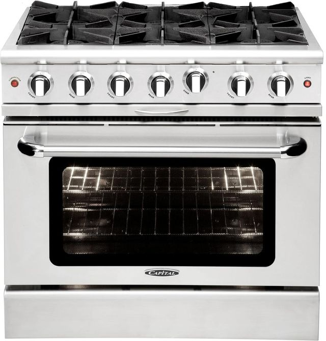 """Capital Culinarian 36"""" Stainless Steel Free Standing Gas Range-MCOR366L"""