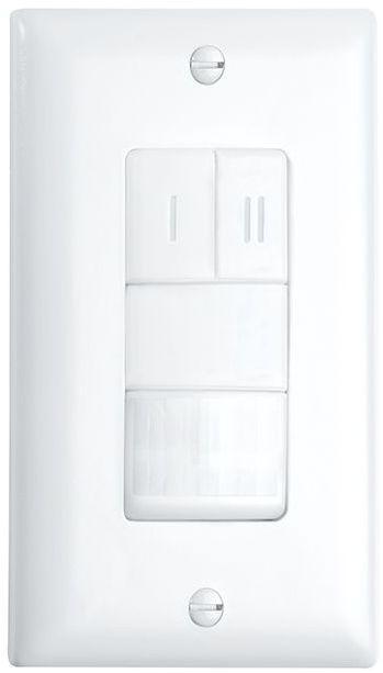 Crestron® STEINEL IR WLS 2 Passive Infrared Dual Relay Wall Switch Occupancy Sensor-White-GLA-IR-WLS-2-W