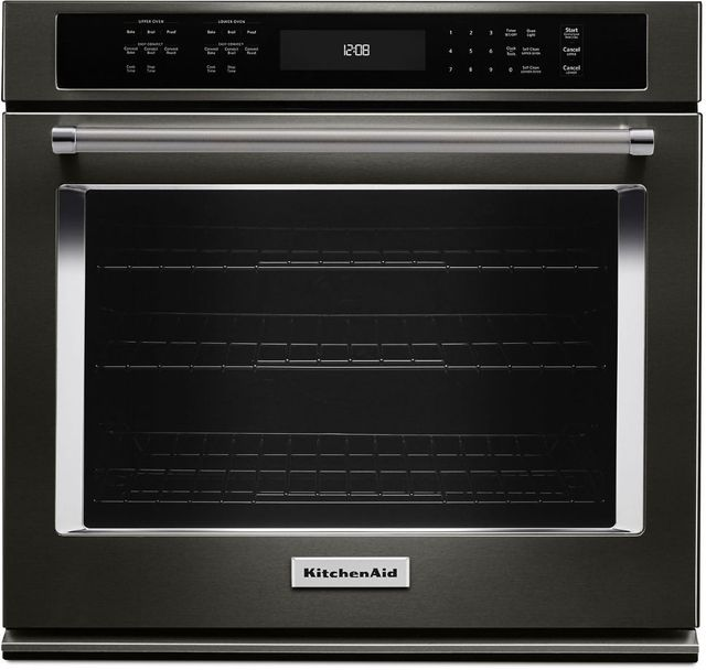"""KitchenAid® 30"""" Black Stainless Steel with PrintShield™ Finish Electric Single Oven Built In-KOSE500EBS"""