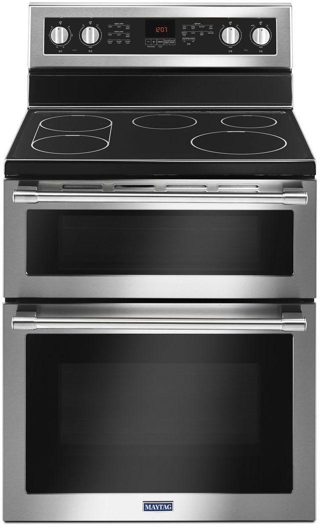 "Maytag® 30"" Fingerprint Resistant Stainless Steel Free Standing Double Oven Electric Range-MET8800FZ"
