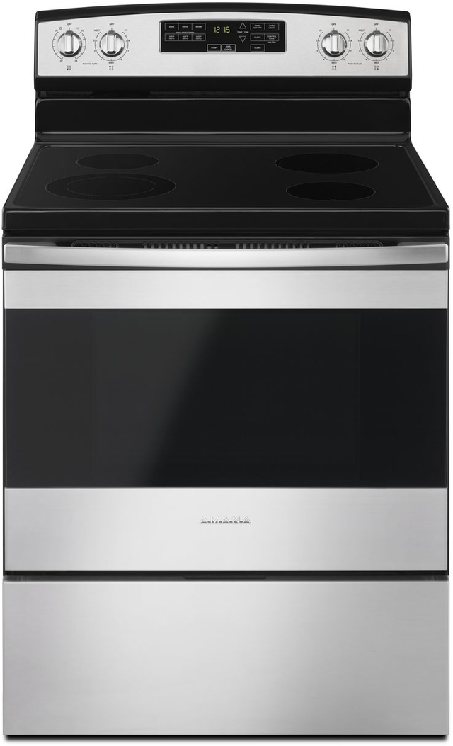 """Amana® 30"""" Black on Stainless Free Standing Electric Range-AER6603SFS"""