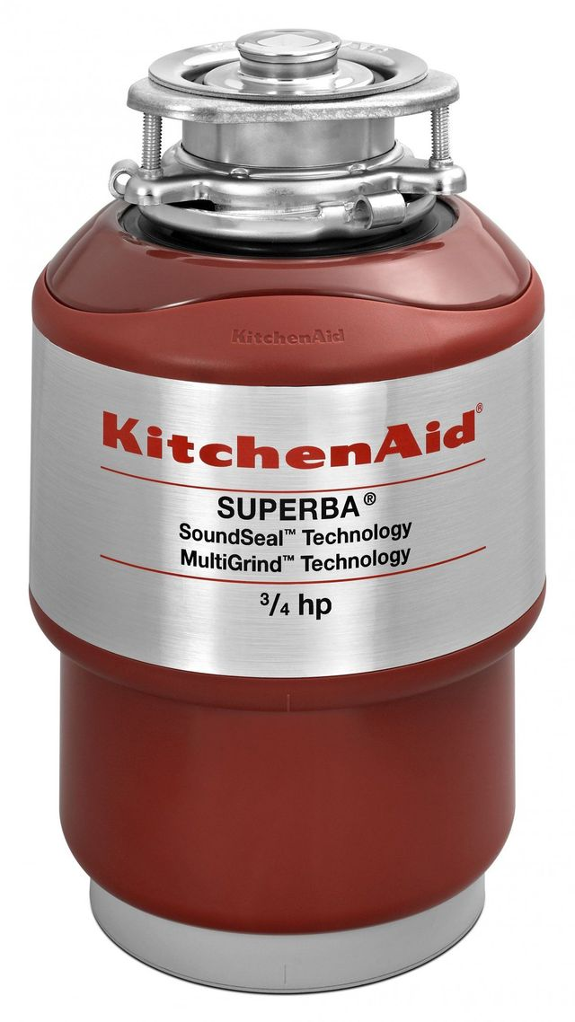 KitchenAid® 0.75 HP Continuous Feed Red Food Waste Disposer-KCDS075T